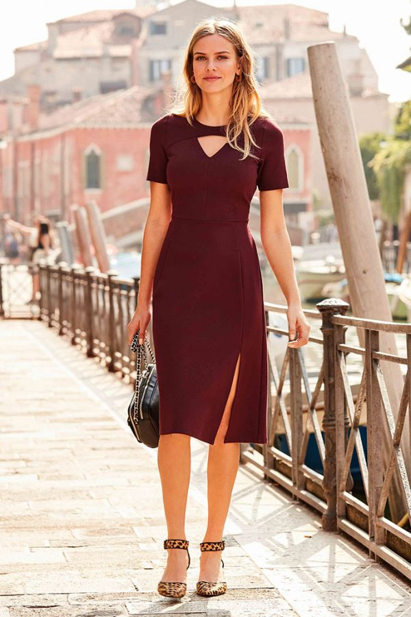 Wine Side Split Ponte Dress