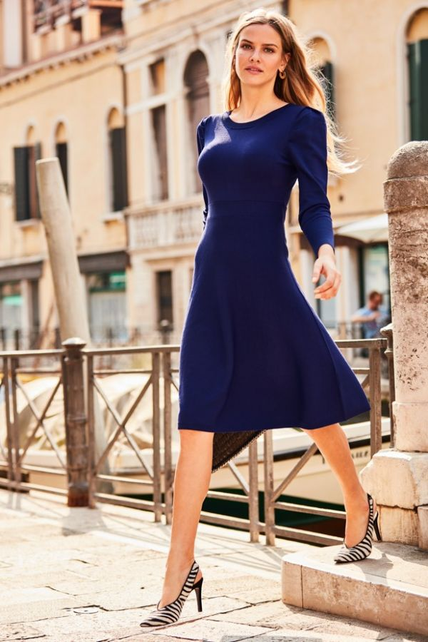 Royal Blue Statement Sleeve Fine Knit Dress