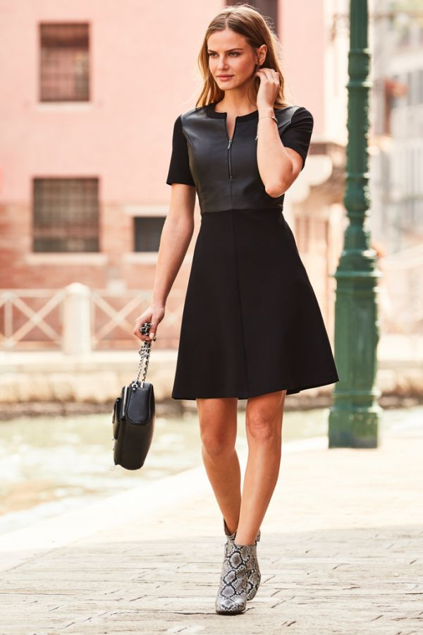 Black Leather Look Front Panel A Line Dress