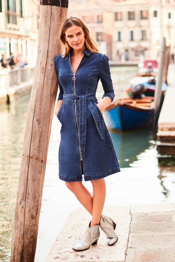 Indigo Zip Front Belted Denim Dress