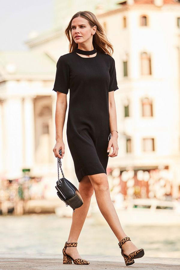Black Shift Dress With Button Neck