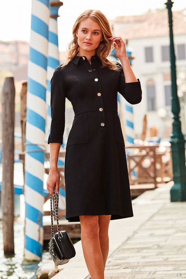 Black Ponte Popper Front Shirt Dress