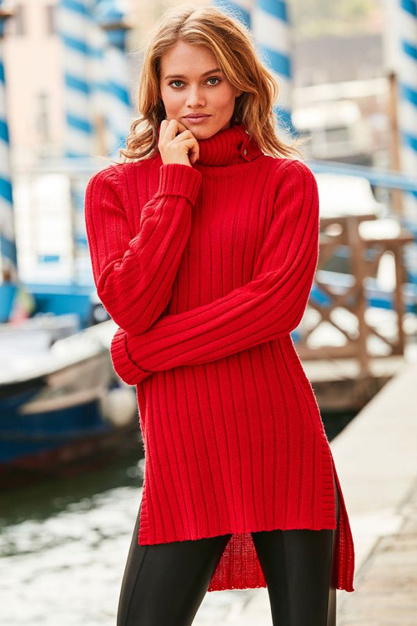 Red Roll Neck Fisherman Rib Jumper