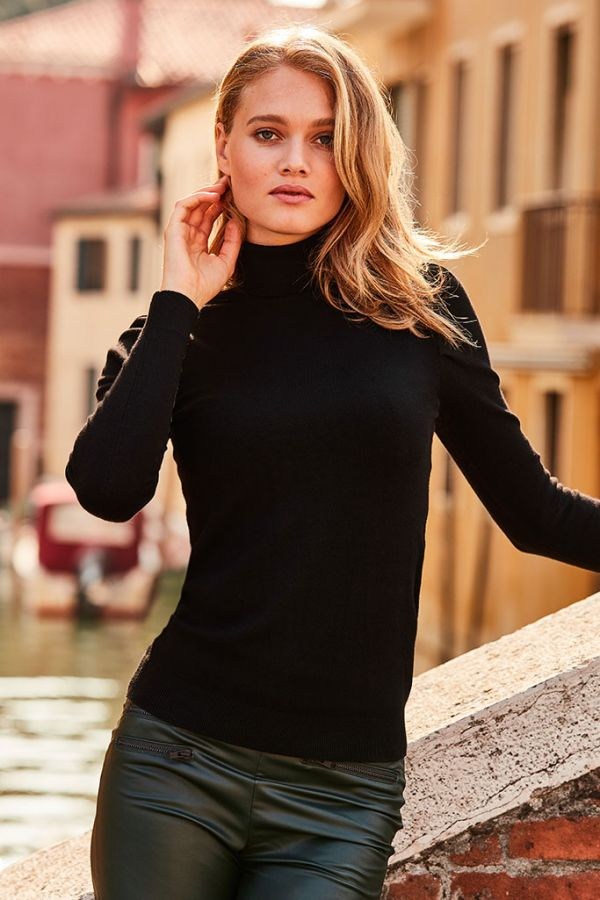 Black Polo Neck Fine Knit Jumper