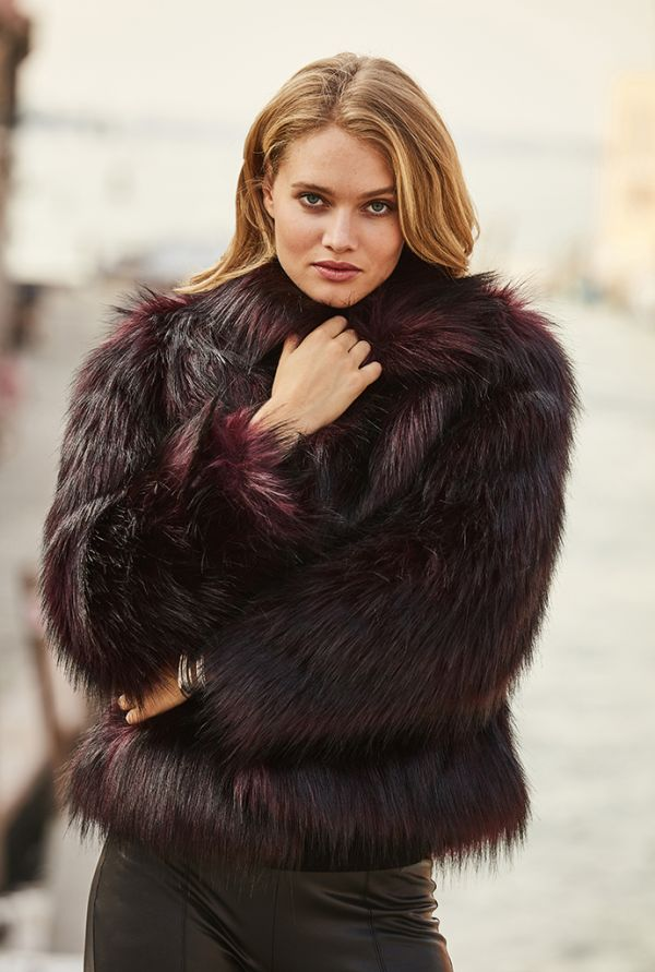 Burgundy Black Tipped Faux Fur Jacket