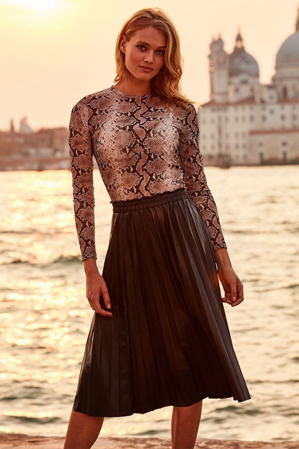 Black Leather Look Pleated Midi Skirt