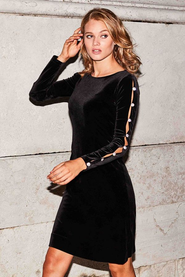 Black Velvet Embellished Sleeve Shift Dress