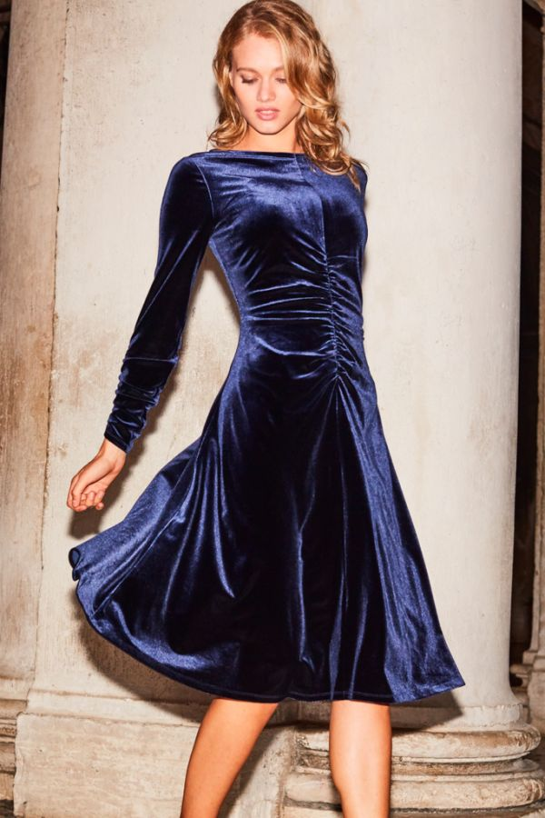 Midnight Blue Ruched Detail Velvet Dress