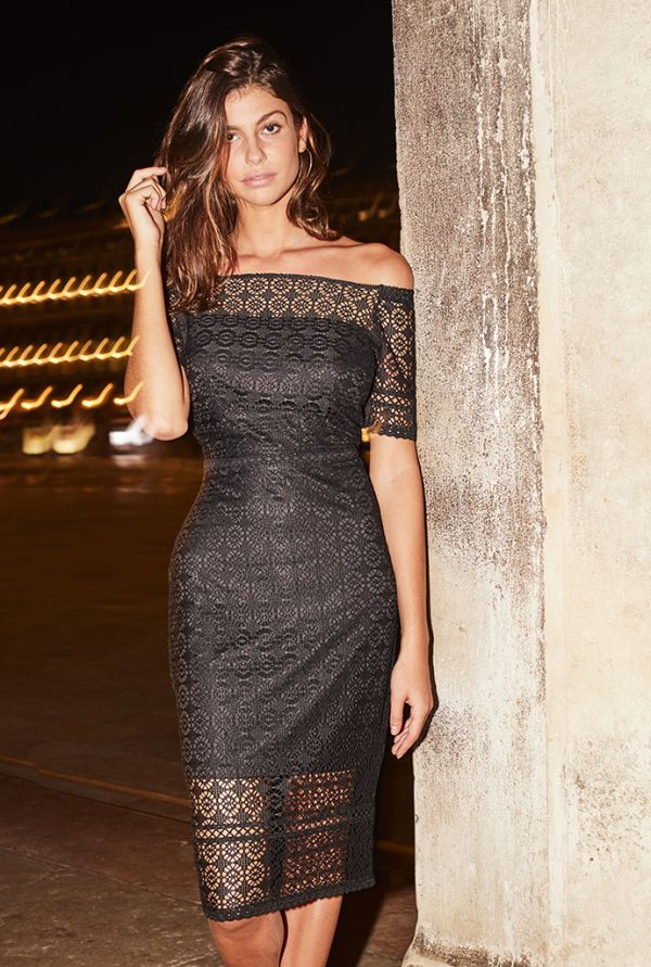 Black Lace Bardot Pencil Dress