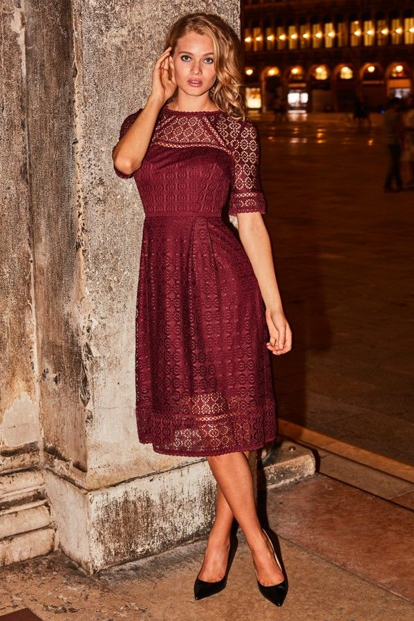 Burgundy Lace Fit & Flare Dress
