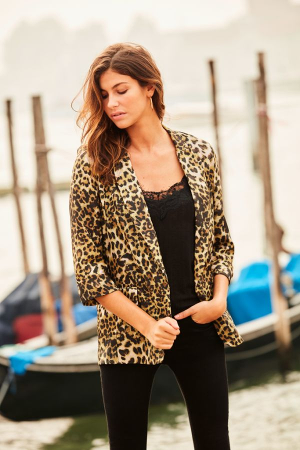 Leopard Print Relaxed Fit Blazer