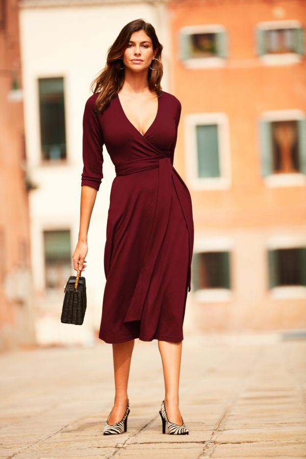 Burgundy Faux Wrap Belted Dress