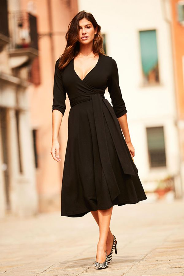 Black Faux Wrap Belted Dress