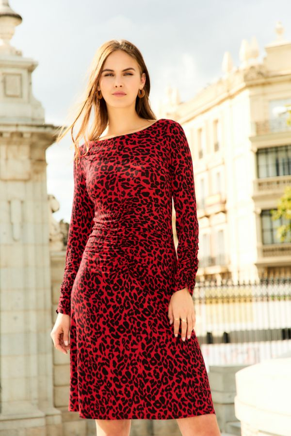 Red Leopard Print Ruched Detail Jersey Dress