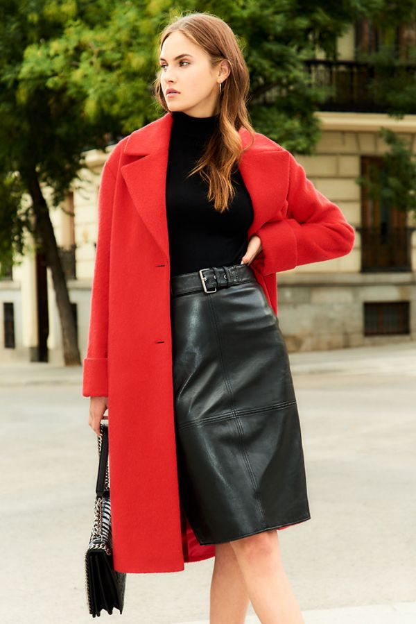 Red Relaxed Fit Wool Mix Coat