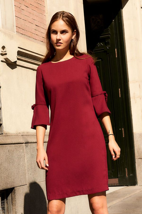 Wine Fluted Sleeve Shift Dress