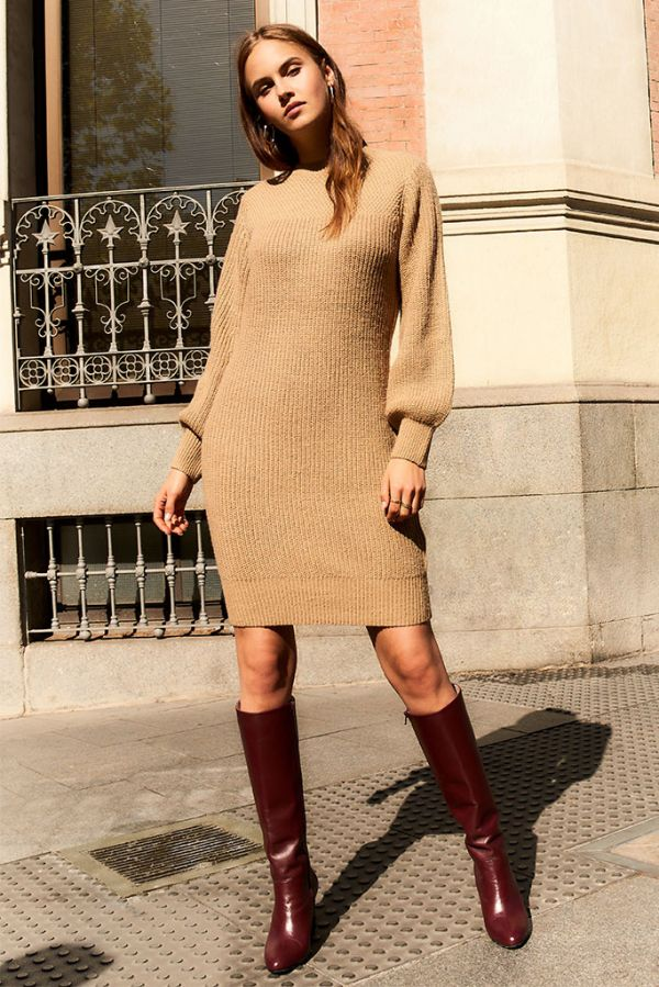 Camel Chunky Knitted Dress