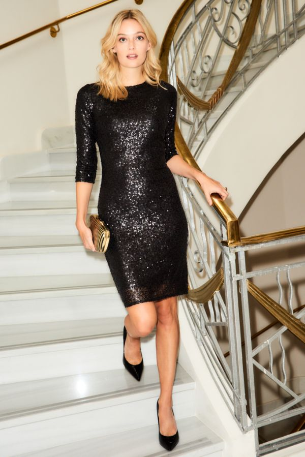 Black Sequin Shift Dress