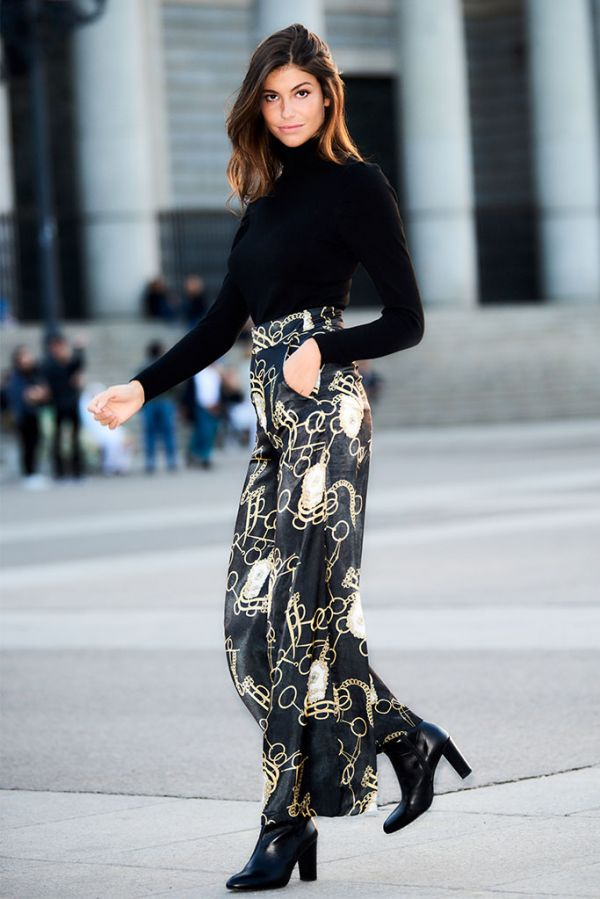 Black Chain Print Wide Leg Trouser
