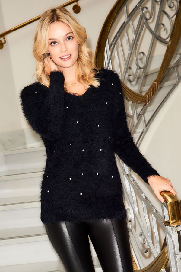Black Pearl & Sparkle Embellished Jumper