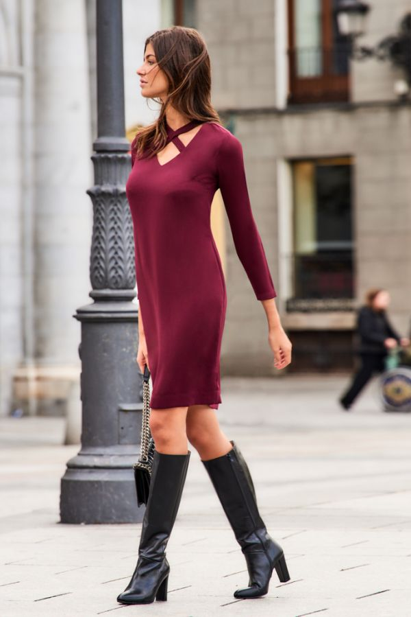 Wine Cut Out Cross Top Shift Dress