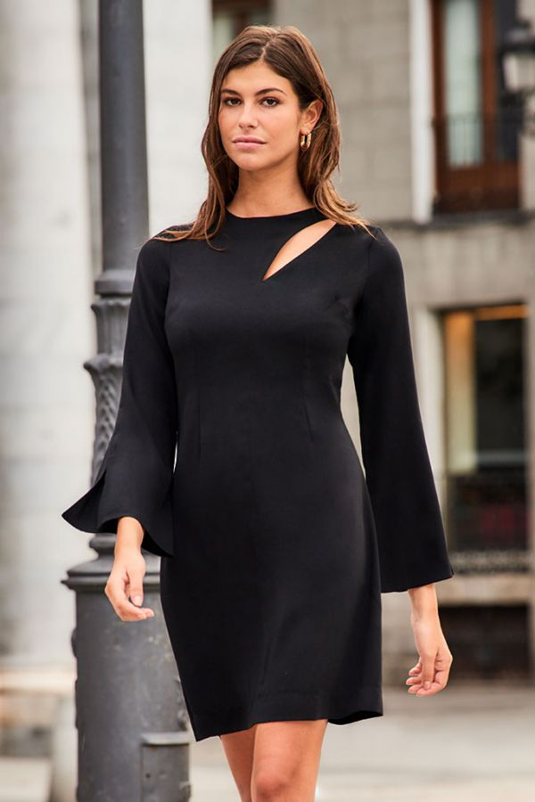 Black Slash Front Shift Dress
