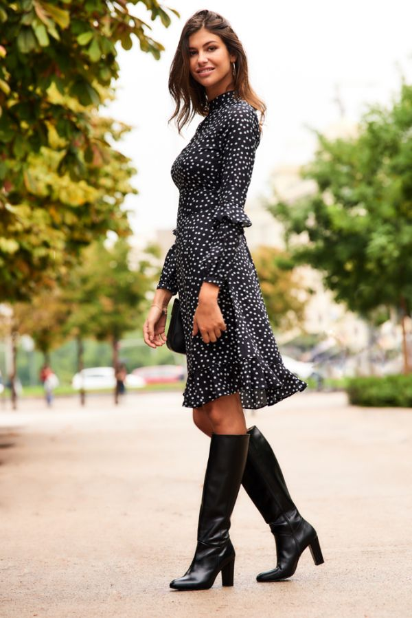 Black & White Polka Dot Fit & Flare Ruffle Dress