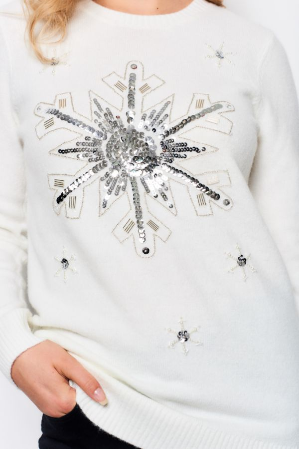 Winter White Sequin Snowflake Knit Jumper