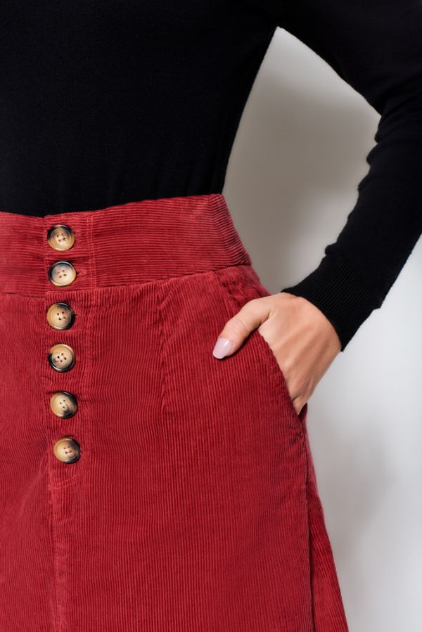 Deep Red Button Detail Cord Skirt