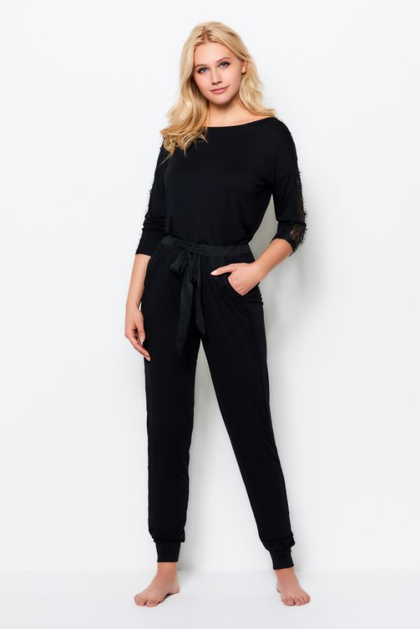 Black Jersey Lace Trim Pyjama Bottoms