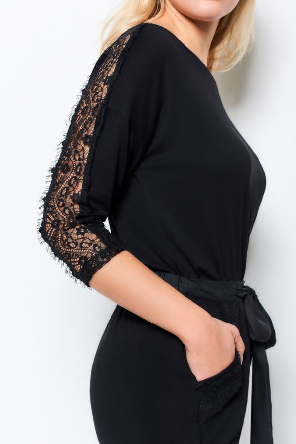 Black Jersey Lace Trim Pyjama Top
