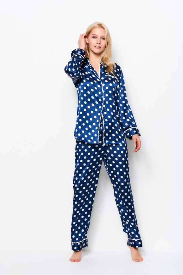 Blue & White Spot Print Silky Soft Pyjama Set