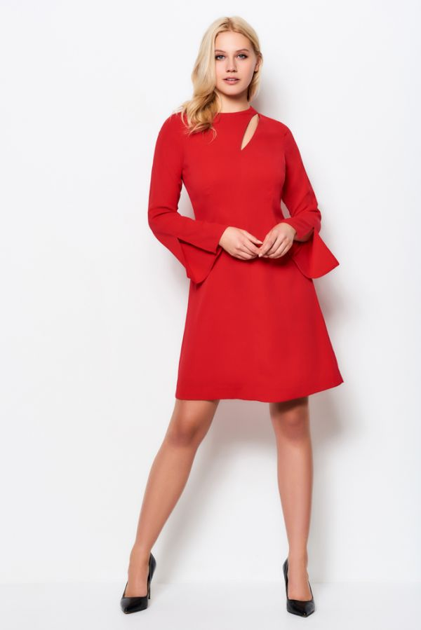 Scarlet Red Slash Front Shift Dress