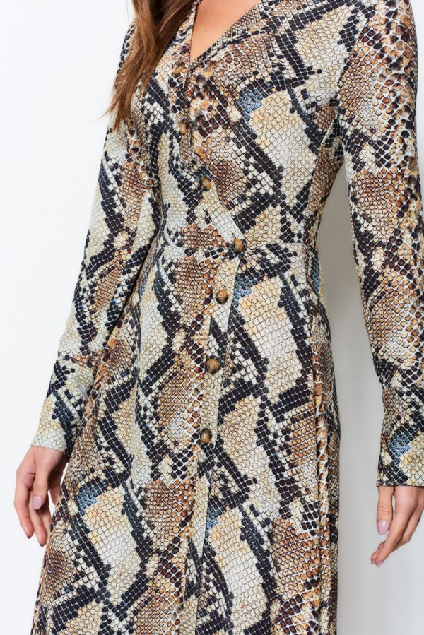 Snakeskin Button Wrap Shirt Dress