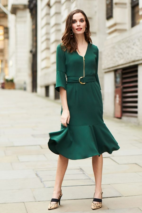 Forest Green D Ring Flute Sleeve Dress