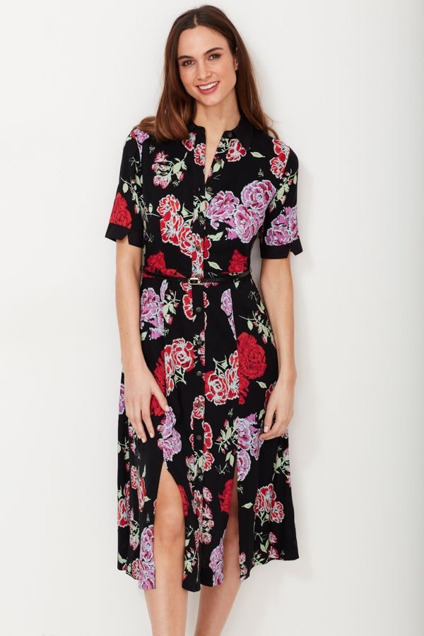 Print belted shirt dress