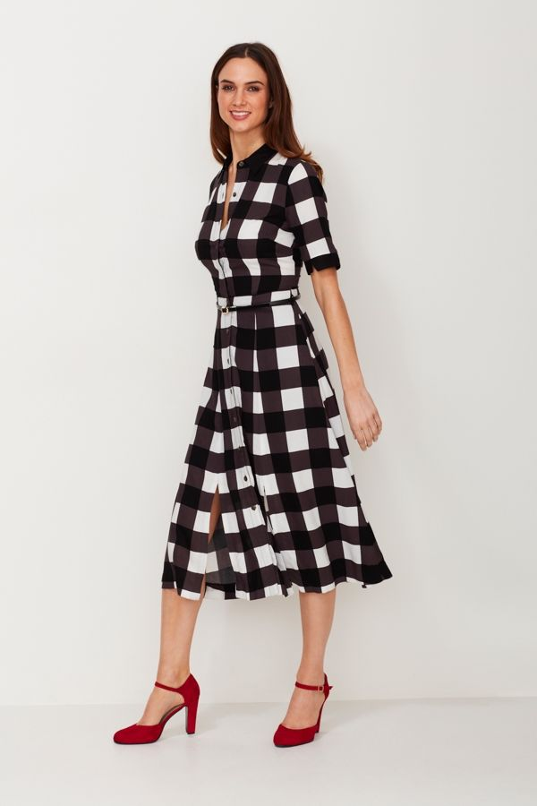 Black and White Gingham Print Shirt Dress