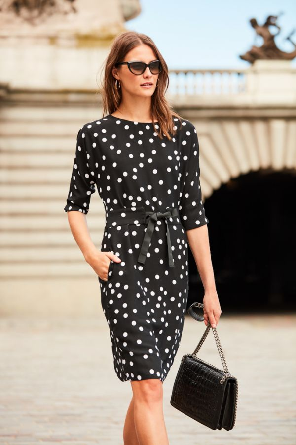 Black & White Spot Print Shift Dress