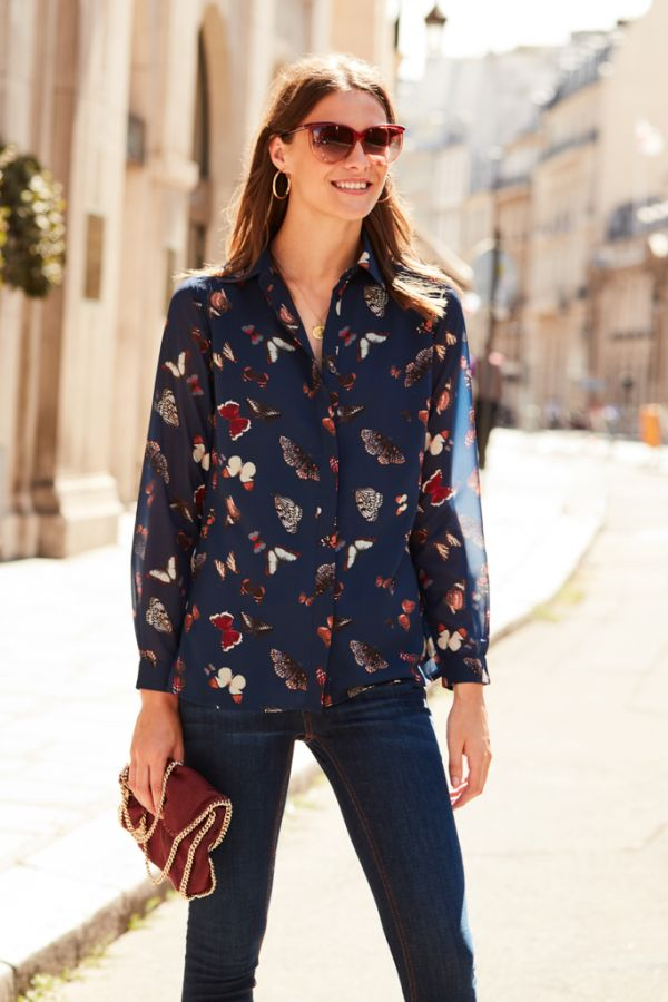 Butterfly Print Western Inspired Shirt