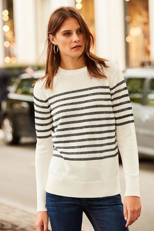 Black & White Lurex Stripe Fine Knit Jumper