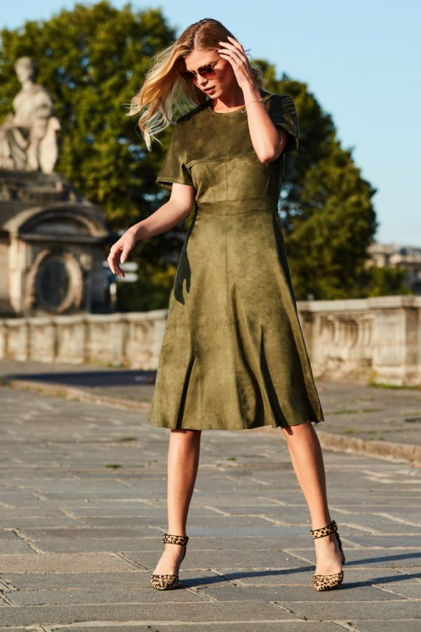 Khaki Suedette Fit & Flare Dress