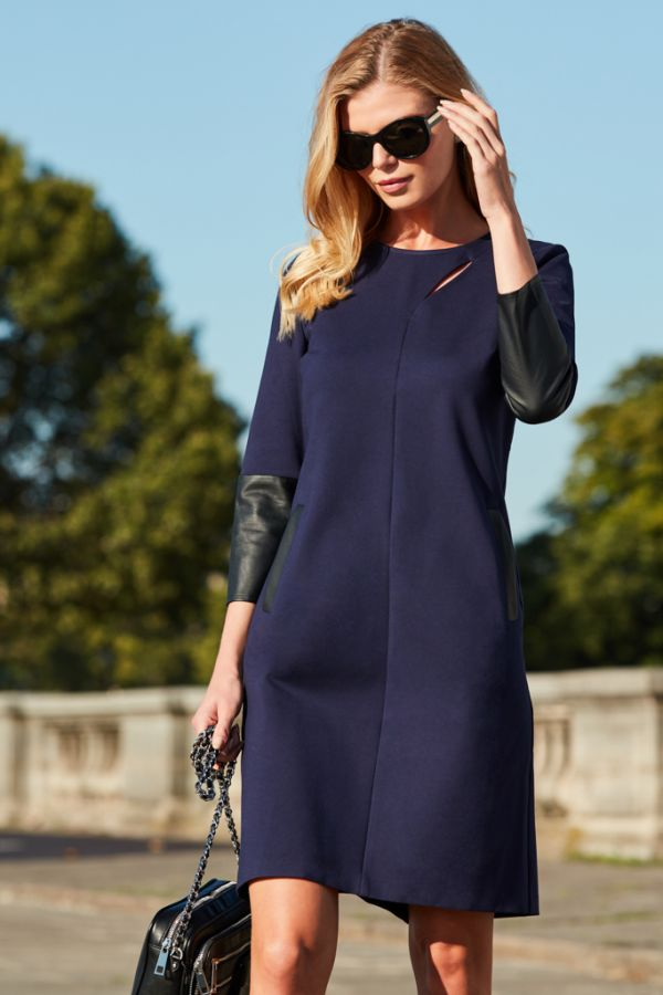 Navy Slash Front Leather Look Trim Shift Dress