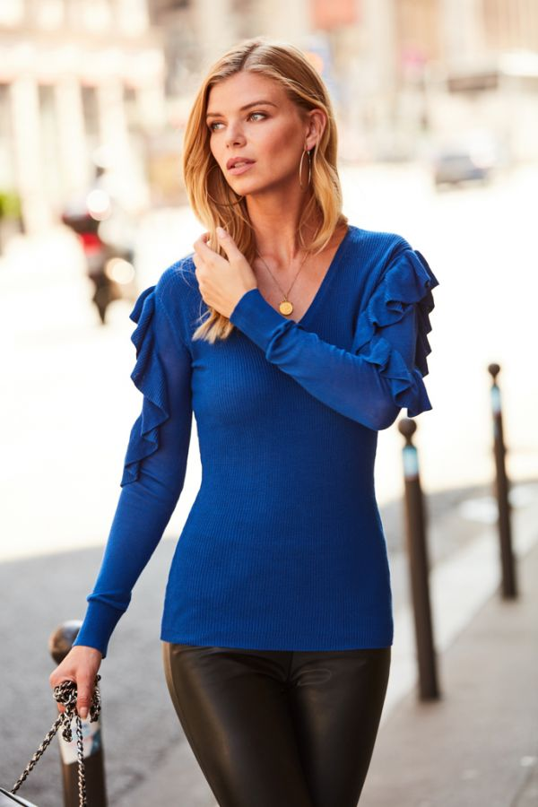Royal Blue Frill Shoulder Fine Knit Jumper