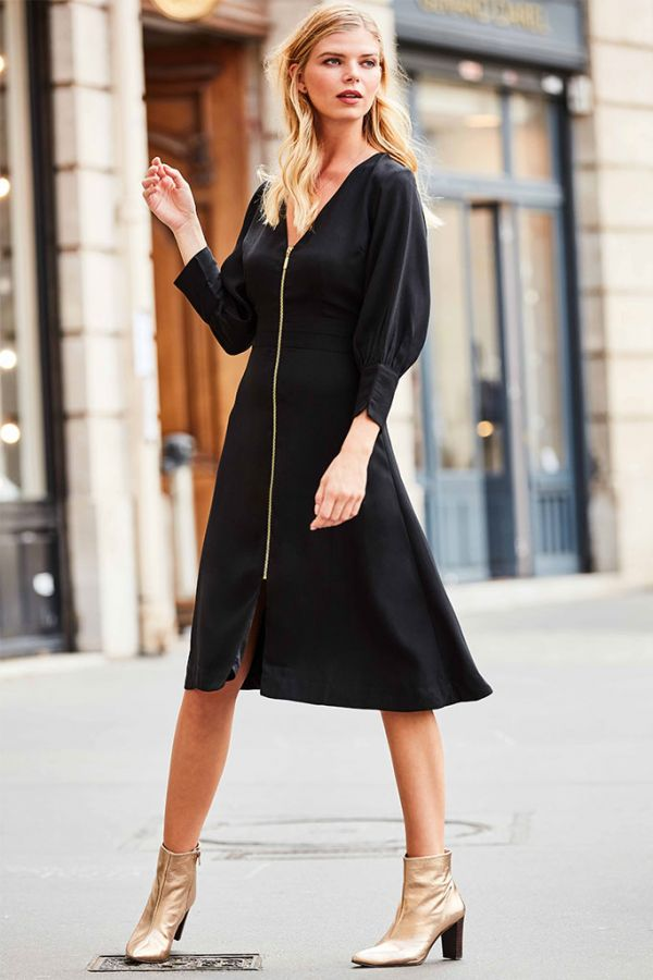 Black Zip Front Fit & Flare Dress