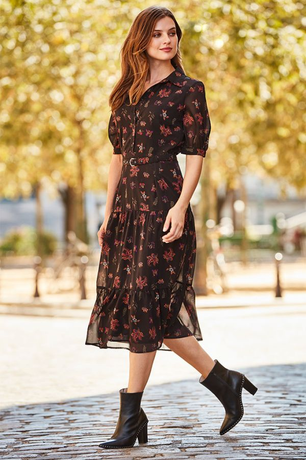 Black Paisley Print Tiered Shirt Dress