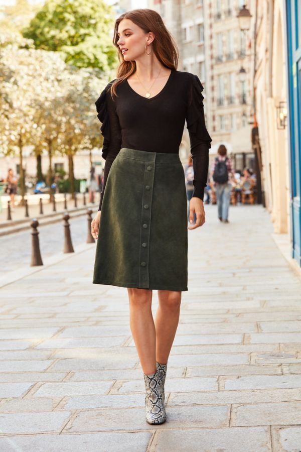 Dark Green Suede Popper Front Skirt
