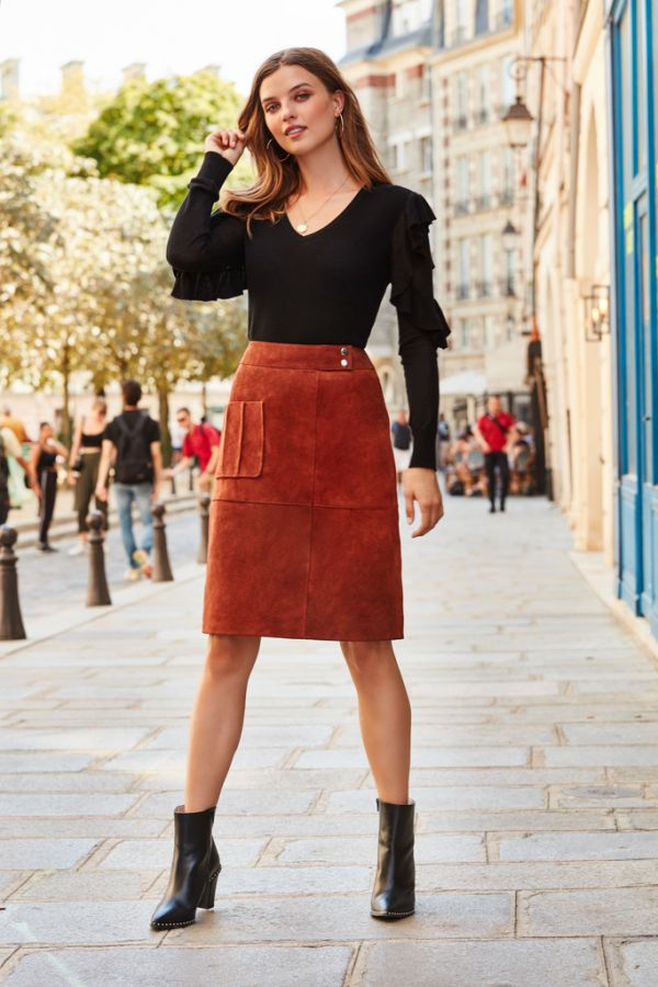 Brandy Brown Suede Patch Pocket Skirt