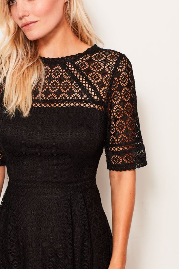 Black Lace Fit & Flare Dress