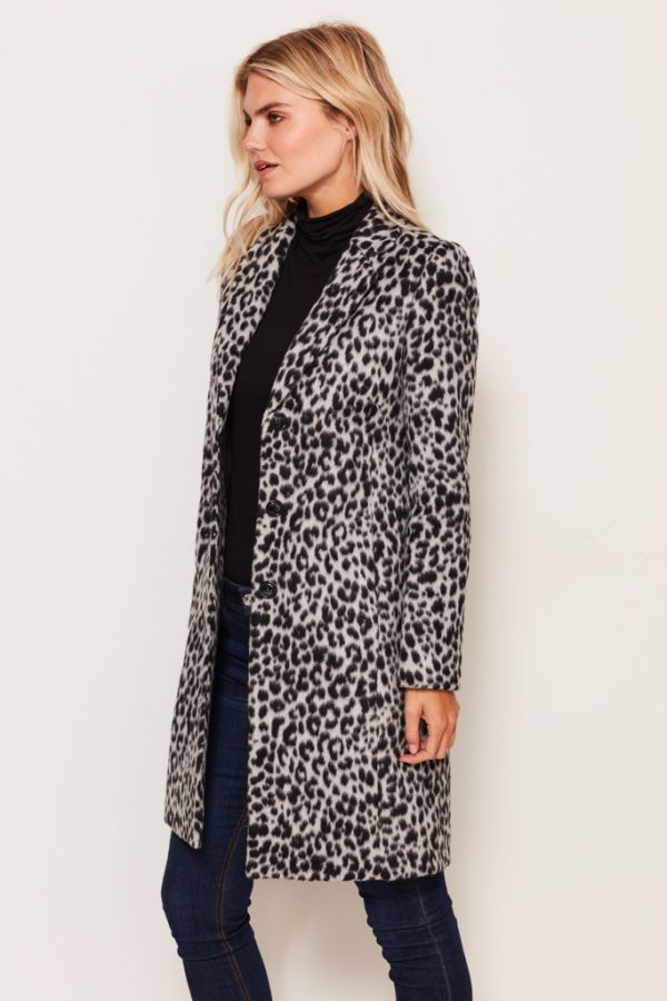 Snow Leopard Print Coat