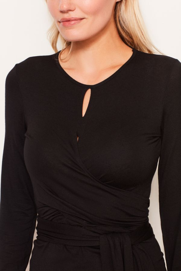 Black Wrap Tie Jersey Top
